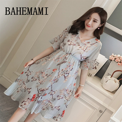 429502ab387 BAHEMAMI Maternity dress new 2018 summer Pregnancy clothing V-neck chiffon  Maternity print pleated d