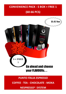 6 Box - Convenience 5+1 Free - Coffee Moka Chocolate Tea - Nespresso® Compatible Capsule
