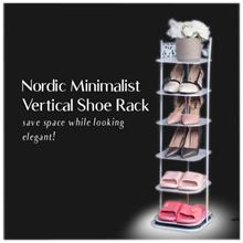 Nordic Minimalist Vertical Shoe Rack | 5 / 6 / 7 Tier | Fit BTO Door Gap Nicely!