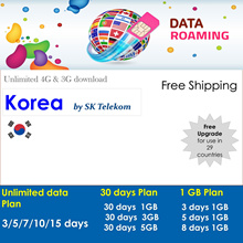 Korea :(SK Telecom Network ) 2GB highspeed data for 30 days. Free upgrade for use in 10 countries