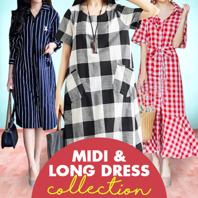 Midi n Long Dress Variant Motif and Colors Deals for only Rp59.000 instead of Rp59.000