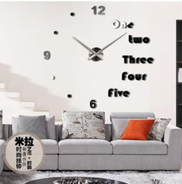 Modern Contrast Color DIY Mirror Effect Wall Clock Removable Acrylic Glass D