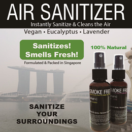 [A Green Product ] SANITIZE Air Spray ♥ SANITIZES AIR.Smoke Free Kills Germs.Made in Singapore