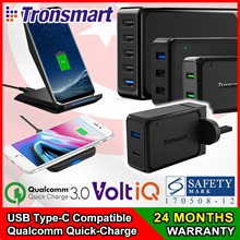 ★SG STOCK★ TRONSMART 2 / 3 / 5-Port Multi-USB Wall Charger Qi Wireless Charger Quick-Charge USB-C PD
