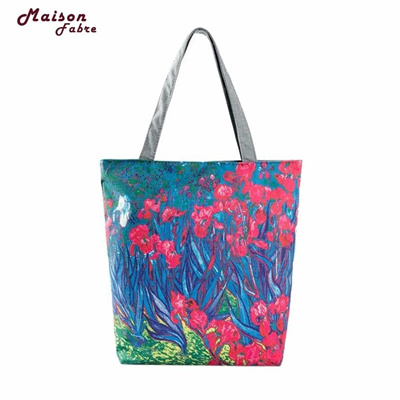 Maison Fabre Fashion Painting Flowers Canvas Casual Beach Bags Ping Women Bag Handbags