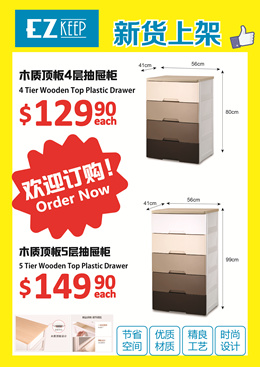 【JAPAN HOME】EZ Keep 4 and 5 Tier Wooden Top Plastic Drawer | Home Organization | Storage