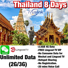 [Truemove] Thailand 8 Days Unlimited Data FREE WIFI Sim Card  2.5GB High Speed Data Prepaid Card