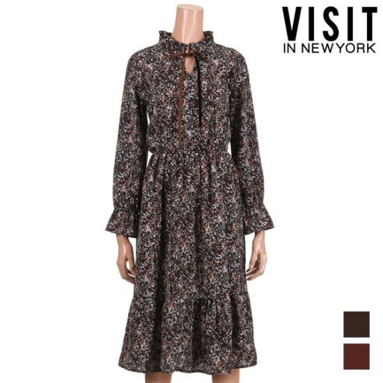 [ビジットニューヨーク]ラッパ袖フラワーフリルワンピース_VUAOP22 面ワンピース/ 韓国ファッション