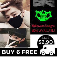 Fashion Anti-Pollution Mask ★ HALLOWEEN DESIGNS ★ 100% Cotton Face Mask ★ Washable Reusable ★ Travel
