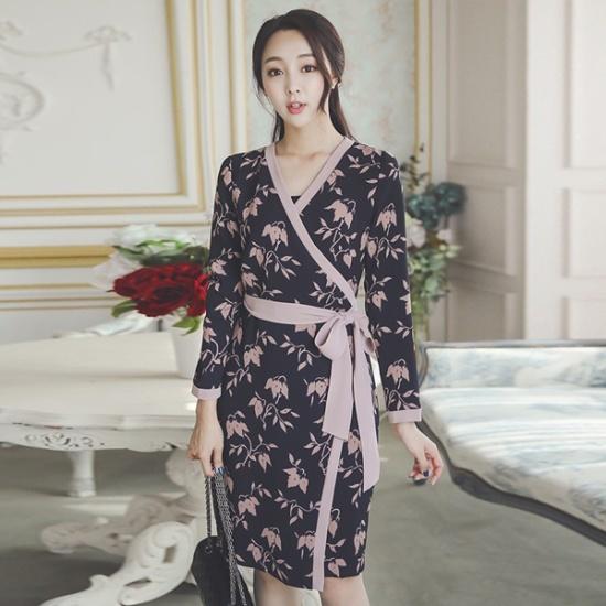オッドDRI466フラワー配色ラインラップワンピース スーツワンピース/ 韓国ファッション