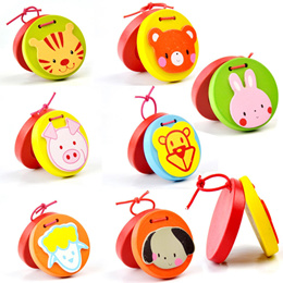 Cartoon Castanets Infant Wooden Musical Toy Instrument Baby Educational Kids Toy