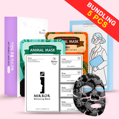 [BUNDLING 5PCS] Korean Brands Mask / Mask Pack Collection_Animal Mask/Mienu/Twin Derma/Pretty Skin Deals for only Rp35.000 instead of Rp59.322