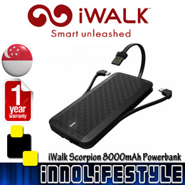 ★GSS Sales★ iWALK Scorpion 8000mAh Power Bank Built in Lightning and Micro USB Cables.