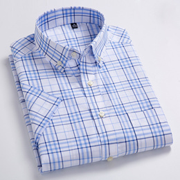 discount Men s Standard-Fit Short-Sleeve Checked Plaid Shirt Patch Chest Pocket Thin Soft 100% Cotto