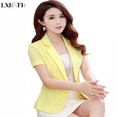 923db874f58 Short Sleeve Blazer Female 2018 Summer Women Short Coats Office Woman  Blazers Korean Ladies Slim Thi