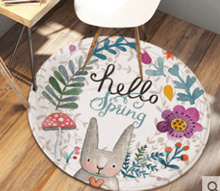 Cartoon round carpet mat home living room coffee table bedroom carpet room bed front blanket compute