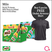 [NESTLE] BUY 5 PACKS OF MILO® PENG [6x225] AND GET FREE UNDER ARMOUR TEE. *TOTAL 30 BOTTLES*