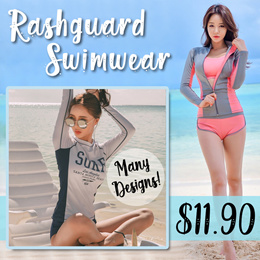 [Free Delivery] Women Fashion Swimwear Rashguard Long/Short Sleeves Pants/Shorts Swimming wear