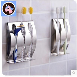 Stainless Steel Toothbrush Bathroom Toilets Toothpaste Toothbrush Holder Holeless Toothbrush Shelf D