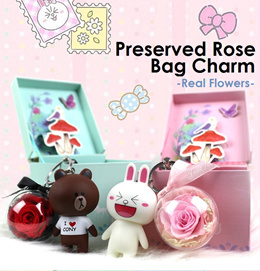 Eternal Rose Bag Charm Preserved Rose Charm Keychain Real Flower Bag Charm Cony Brown Handbag Gift