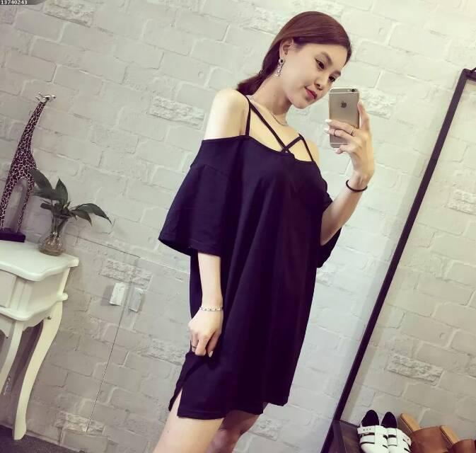 【即日配送】セクシーワンピース 肩だし 黒 ミニスカート 韓国ファッション FREEサイズ