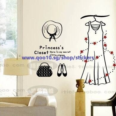 Wall Sticker Boutiques Bedroom Wall Stickers Shop Window Decoration Princess Dress Clothing Store Wi