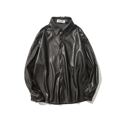 05950e6793c7 A nice oversize leather shirt for men and women, a new leather jacket, a