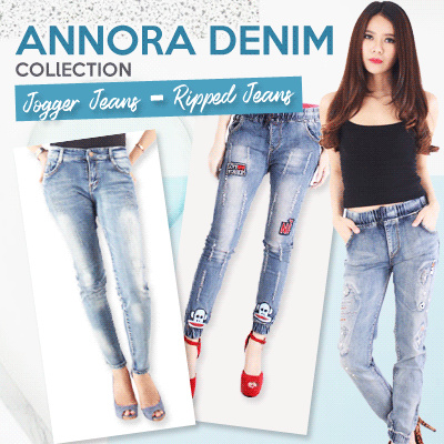 NEW COLLECTION - ANNORA DENIM COLECTION - Celana Jeans Wanita - Jogger Jeans  -Ripped Jeans a46ba042e4