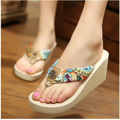 9eb5fb026 Sandals and slippers female high-heeled slipper slope with heavy-bottomed  platform shoes slippers