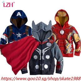 LZH 2019 Spring Autumn Boys Jacket For Boys Spiderman Avengers Iron Man Hooded Jacket Kids Warm Oute