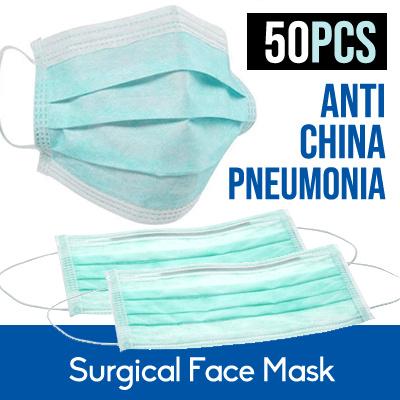 50pcs Pneumonia Face Disposable Mask earloop anti Filter Surgical free 3ply Corona Triple Shipping