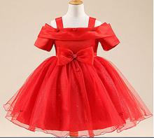 BAP.083 Gaun pesta anak warna merah model berlengan dan rok pendek / gaun princess perempuan