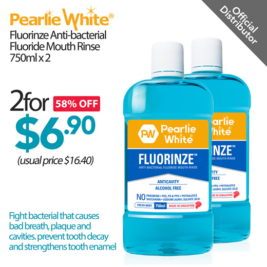 [S$6.90](▼64%)[On Promotion Now]Pearlie White - Fluorinze Alcohol Free Mouth Rinse Twin Pack 750ml / Anti-Bacterial / Made in SG