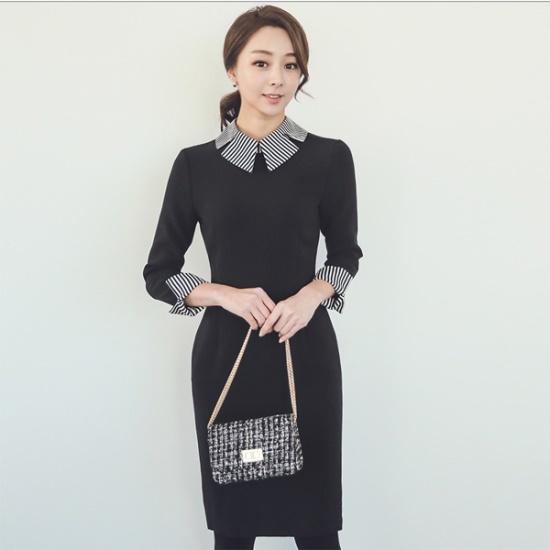 オッド花びらカラ配色ワンピースDRH496 スーツワンピース/ 韓国ファッション
