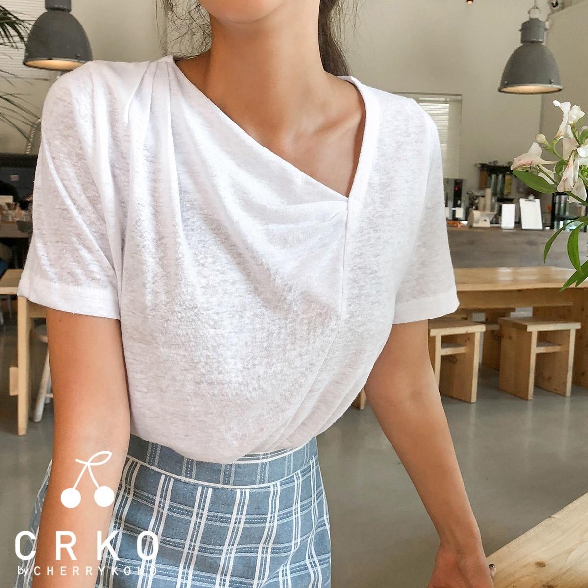 [CHERRYKOKO官方旗艦店] V領亞麻T恤 / unders on tee