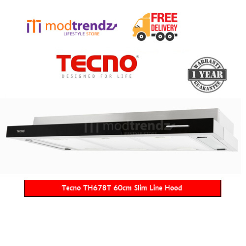 Modtrendz comTecno TH678T 60cm Slim Hood with Black Acrylic Front Panel 1  Yr Warranty PSB Safety Mark Approved