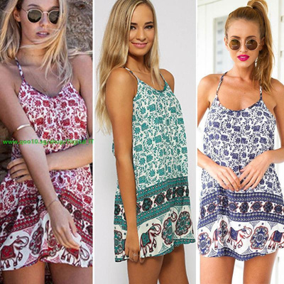 92a091ad6a New Sexy Women Sun Dress Floral Elephant Print Spaghetti Strap Sleeveless  Swing Beach Mini Dress