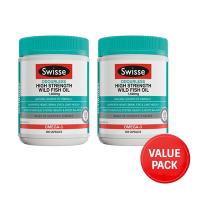 Swisse Ultiboost Odourless High Strength Wild Fish Oil 1500mg 200 Capsules x 2pcs May 2021
