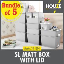 ONLINE EXCLUSIVE ♦ Bundle Of 5 ♦ 5L Matt Box With Lid ♦ Stackable Design ♦ Durable ♦