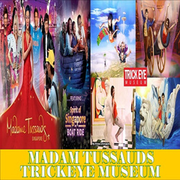 COMBO TICKET MADAME TUSSAUDS WITH IMAGES OF SINGAPORE AND BOAT RIDE TRICK EYE MUSEUM E-TICKET