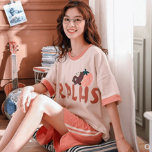 Pajamas/female/summer/knitted/cotton/external wear/home wear/women#39s casual short-sleeved shorts suit