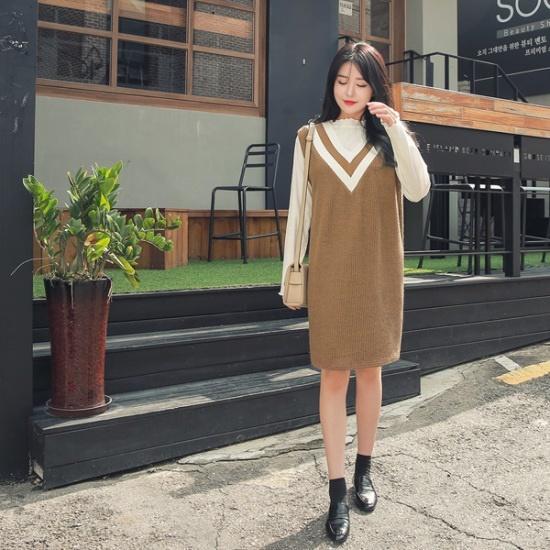 ジェイ・スタイルビックサイズテインナ配色ニット・ワンピース 大きいサイズ/ワンピース/韓国ファッション