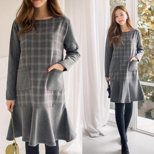 [SOIM] 大人可愛いを叶えたいなら♡ / ♥体型カバーになる♥ / チェック起毛ワンピース / 冬ワンピース / 韓国ファッション妊婦服 / 一般女性の着用可能!