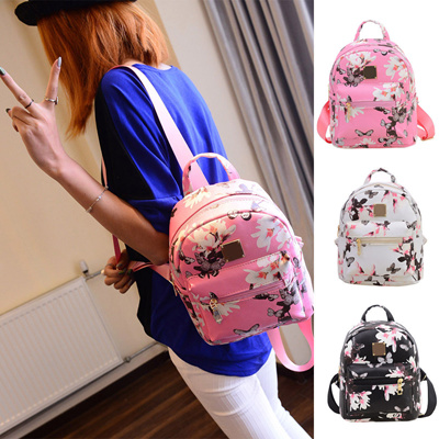 92feb7c2a9 Cute Women Floral Shoulder Bag Fashion Travel Faux Leather Backpack Lady  Print School Bag Girl Flowe