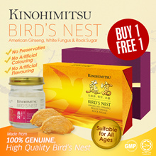 【BUY 1 FREE 1】TOTAL 12s !! Kinohimitsu Birds Nest 6sx2 *Added with American Ginseng and White Fungus
