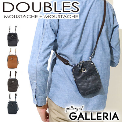 DOUBLE SHOULDER BAG DOUBLES bag diagonal hanging mini shoulder pouch vertical  type leather HARVEST harvest label 7d2cfe7c6ea65