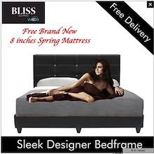 Lowest Priced Spring Mattress Set ! Sleek Design Bed frame FREE 8 inches Spring Mattress Queen Size