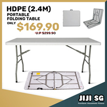 ★Portable Travel Outdoor Folding Table in 2.4m★HDPE★TABLE★OUTDOOR★Multi-Purpose Storage★Furniture★