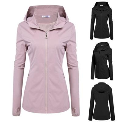 Women Fashion Hooded Long Sleeve Solid Zip-up Lightweight Short Jacket