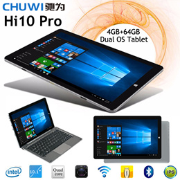 ☆New Arrival☆ Chuwi Hi10 Pro HI10 Dual OS 10.1inch Tablet PC Intel Cherry Trail Z8300 Windows 10 Android 5.1 4G RAM 64G ROM Quad Core 1920x1200 IPS Type-C 3.0 HDMI OTG Dual Camera 6600mAh Battery